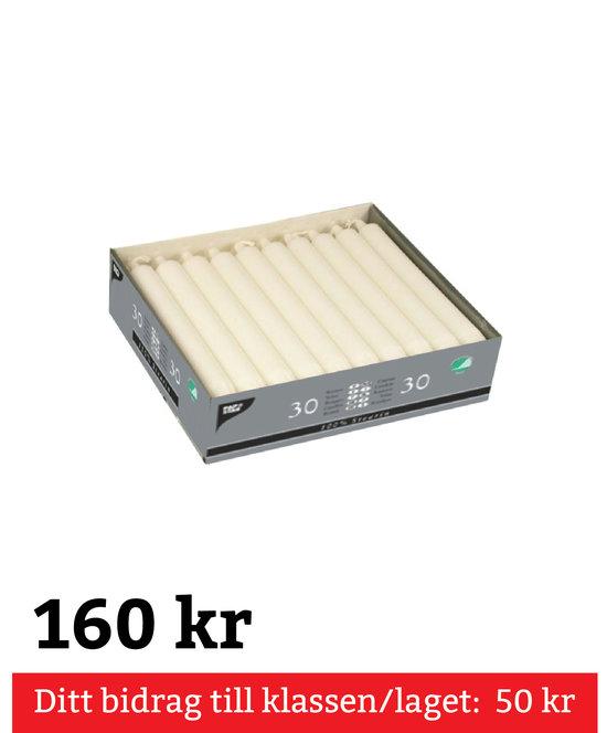 Kronljus 30 pack 20 cm vita 100% Stearin