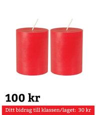 Blockljus Röda 2-pack 10 cm 100% Stearin Genomfärgade