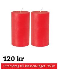 Blockljus Röda 2-pack 15 cm 100% Stearin Genomfärgade