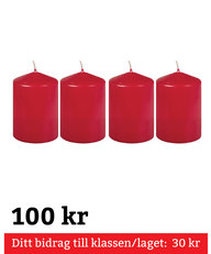 Blockljus Röda 4-pack 100 mm