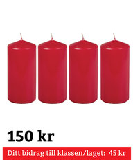 Blockljus Röda 4-pack 150 mm